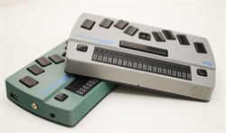 Photo of 2 Braille Display Note-taker devices, one gray, one teal.