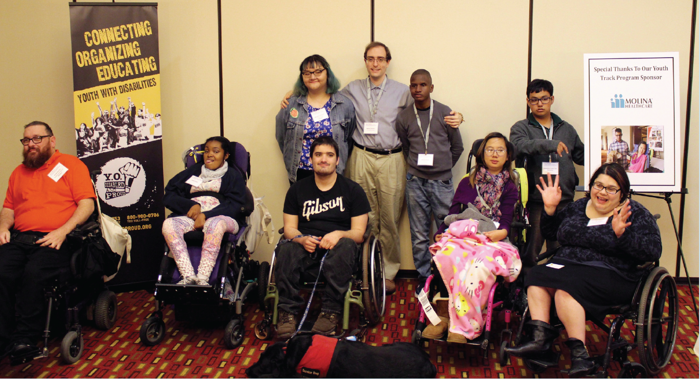 Photo of diverse youth with disabilities and mentors at the 2016 Family Voices of California event