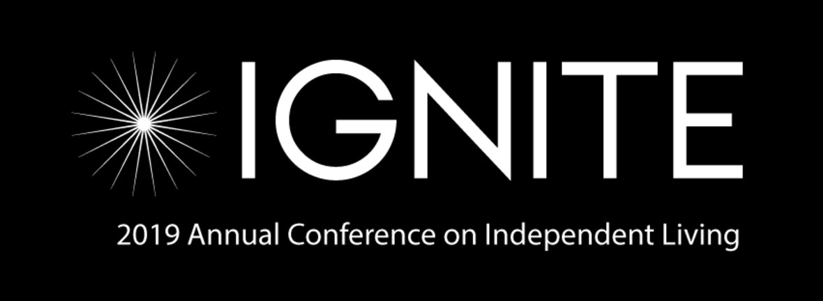 Logo: a black rectangle with a starburst next to the word IGNITE. the words 2019 Annual Conference on Independent Living beneath it.