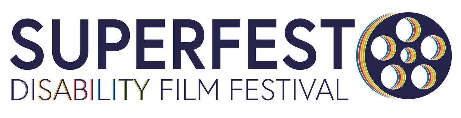 Superfest Disability Film Festival Logo with Film Reel