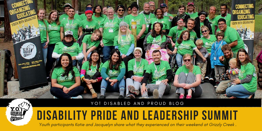 Group photo of diverse youth with disabilities and staff at the 2018 YO! Summit at Grizzly Creek Ranch in Portola.