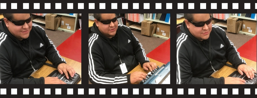 Series of 3 photos in a filmstrip: Photo of a young Latino man typing, using a black Braille device. Text: My Technology Wake-Up Call. Alan Cruz shares his experience using Braille devices.
