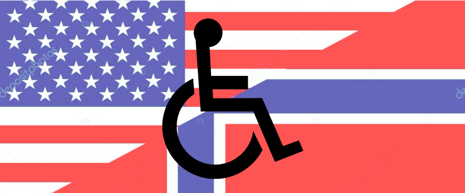 The background is a flag that is half the US flag and half the Norwegian flag, in the foreground is the international symbol of access.