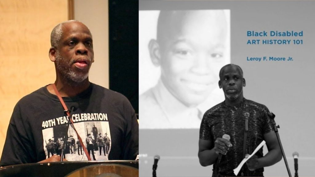 Photo of a black man wearing a black tee shirt that reads 40th Year Celebration with a photo of a Black Panther demonstration. behind him is a slide with a photo of him as a youth and a photo of himself currently. Text: Black Disabled Art History 2020- Leroy F. Moore, Jr.
